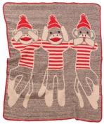 Green 3 Throw Blanket, 3 Monkeys