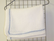 Bk673, Knitted on Hand Knitting Machine Bleached White Cotton 78.7cm By 114.3cm Blanket Trimmed By Hand Crochet with Denim Cotton for Newborns and Infants