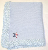 Knitted on Hand Knitting Machine Blue Cotton Hand Crochet Finished with Blue Chenille Infant Boys Large Blanket Size 32 By 114.3cm Trimmed with Star American Flag
