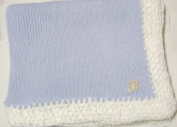 Knitted on Hand Knitting Machine Blue Cotton Hand Crochet Finished with White Rayon Chenille Infant Boys Large Blanket Size 32 By 114.3cm Trimmed with Customer Chosen Ivory Monogram Letter