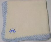 Knitted on Hand Knitting Machine Ivory Cotton Hand Crochet Finished with Blue Chenille Infant Boys Large Blanket Size 32 By 114.3cm with Blue Race Car Patch