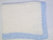 Knitted on Hand Knitting Machine Natural 100% Rayon Chenille Hand Crochet Finished with Blue Chenille Infant Boys Large Blanket Size 32 By 114.3cm