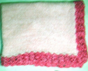 Bk601, Knitted on Hand Knitting Machine Baby Pink Cotton Blanket Trimmed with Raspberry Chenille By Hand Crochet