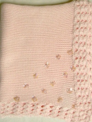 Bk87, Knitted on Hand Knitted Machine Baby Pink Cotton Finished By Hand Crochet with Pink Infant Girls Blanket with Pink Sequin Stars