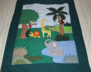 Hawaiian quilt ZOO Animals crib baby comforter blanket hand quilted and wall hanging