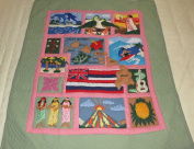 """Hawaiian quilt """"Scene Of Hawaii"""" crib baby comforter blanket hand quilted and wall hanging"""