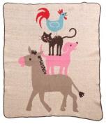 Green 3 Throw Blanket, Milk Stacked Animals
