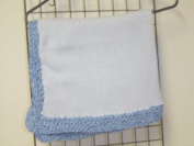Bk601, Knitted on Hand Knitting Machine Blue Cotton 78.7cm By 114.3cm Blanket Trimmed By Hand Crochet with Denim Chenille for Newborns and Infants