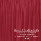 Cute Cribskirt in RED 38.1cm long Crib Dust ruffle, Gathered