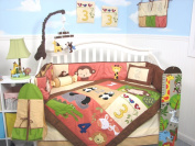 SoHo 1234 Jungle Friends Baby Crib Nursery Bedding Set 13 pcs included Nappy Bag with Changing Pad & Bottle Case