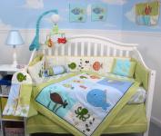 SoHo Gold Fish Aquarium Baby Crib Bedding Set 13 pcs included Nappy Bag with Changing Pad & Bottle Case