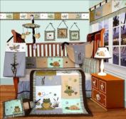 Custom Baby Bedding -Froggie and Friends 13 PCS Crib Bedding