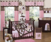 Pink and Chocolate Brown Teddy Bear Baby Girls Bedding 9pc Crib Set