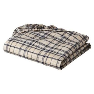 Bacati - Boys Khaki Plaids/stripes Crib Sheet