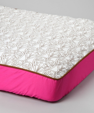 Bacati Damask Pink/Choc Quilted Top Crib Fitted Sheet