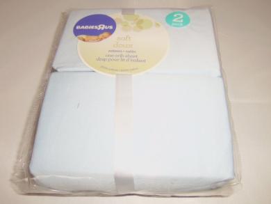 BabiesRus Doux Sateen Crib Sheet, Light Blue, Pkg of 2