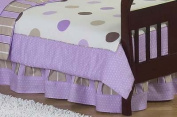 Purple and Brown Bed Skirt for Mod Dots Toddler Set by Sweet Jojo Designs