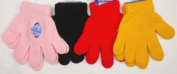 2fa1.015, Set of Four One Size Magic Polyester Nylon Microfiber Lined Gloves for Ages 1-4 Years One Pair Trimmed with Satin Carnations