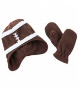 Toby Baby and Toddler Football Fleece Brown Ear-Flap Hat with Mittens, Winter Hat and Mitten Set, Colour