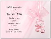Pink Binkies Birth Announcements - Set of 20