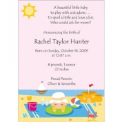 Beach Time Baby Birth Announcements - Set of 20