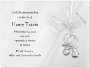Grey Binkies Birth Announcements - Set of 20