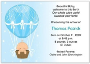 Hot Air Balloon Baby Boy Birth Announcements - Set of 20