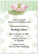 Lily Pad on Green Birth Announcements - Set of 20
