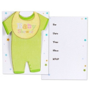 Cuddly Clothesline Folded Baby Shower Invitation Cards- 8ct
