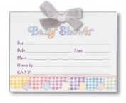 Baby Shower-5.1cm vitations with Vellum and Ribbon Bow