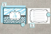 Sweet Safari Baby Blue Baby Shower Party Invitation - 20 Ct.