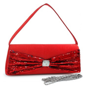 Dasein Sequins Flap Over Front Clutch w/ Rhinestone -Red