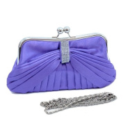 Dasein Pleated Front w/ Rhinestone Accent Kiss Lock Clutch -Purple