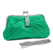 Dasein Pleated Front w/ Rhinestone Accent Kiss Lock Clutch -Green