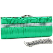 Dasein Push Lock Pleated Front Clutch w/ Rhinestone -Green