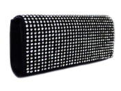 Edelweiss Small Crystal and Black Clutch 8-inch with Strap