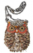 Mary Frances What A Hoot Owl Copper Brown Convertible Clutch Handbag