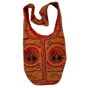 Cotton Peace Signs Sequins Embroidery Bohemian / Hippie Sling Crossbody Bag India Orange