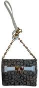 Women's Calvin Klein Purse Handbag Keylock Crossbody Khaki/Brown/Off-White