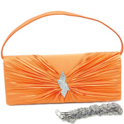 Dasein Pleated Flap Evening Bag Clutch w/ Rhinestone Brooch -Orange