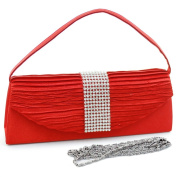 Dasein Evening Bag Clutch w/ Rhinestone Accented Flap -Red