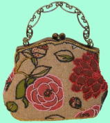 A Beaded Pink Flower and Tint Silver Base Evening Handbag with Long Chain. Best Gift Ideal in the Holiday Season. Unique ! -- #2