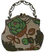 A Unique Beaded Evening Purse with Long Chain. Brown and Green. A Great Holiday Present