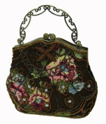 A Unique Beaded Evening Handbag W/shoulder Chain, DarkBrown Cloth Base W/beautiful Flower Pattern -- #4