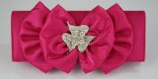 Ladies Pink Diamante Flower Satin Party Clutch Evening Bag KCMODE