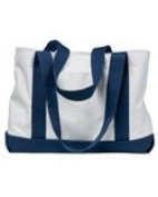 Liberty Bags Boat Tote With Front Pocket - White/Navy