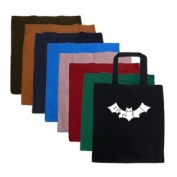 """Small Sapphire Bat Word Art Tote Bag - Created out of the words """"Bite Me"""""""
