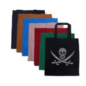 """Small Burnt Orange Pirate Tote Bag - Created using a legendary pirate song """"15 men on the dead mans chest.. yo ho ho and a bottle of rum.."""""""