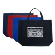 Large Navy Boom Box Tote Bag - Created using some of the greatest rap hits of the 1980s