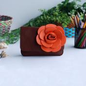 [Luxurious Coffee] Flower Leatherette Clutch Shoulder Bag Clutch Casual Purse